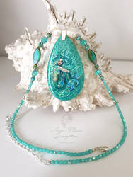 Emerald Ocean Handpainted Mermaid Pendant Necklace by Mocten
