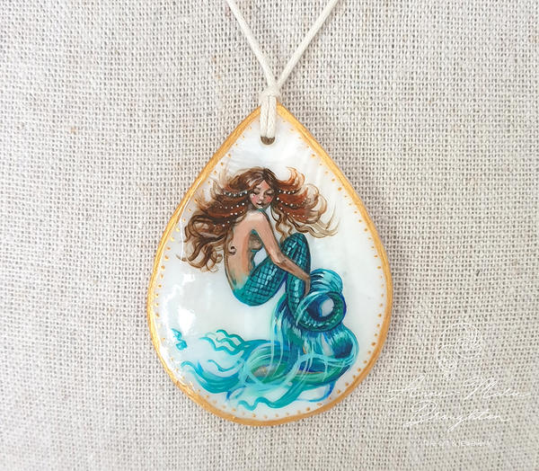 Fancy Tail Mermaid Handpainted Shell Pendant by Mocten