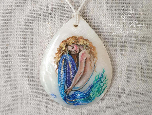 Dreaming Mermaid Handpainted Shell Pendant by Mocten