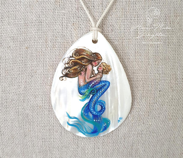 Mother and Daughter Mermaid Handpainted Pendant by Mocten
