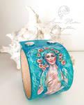 Wild Rose Mermaid Leather Cuff Bracelet Handpainte by Mocten