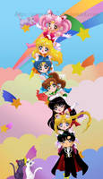 Sailor moon chibi-team tower by SnowLady7