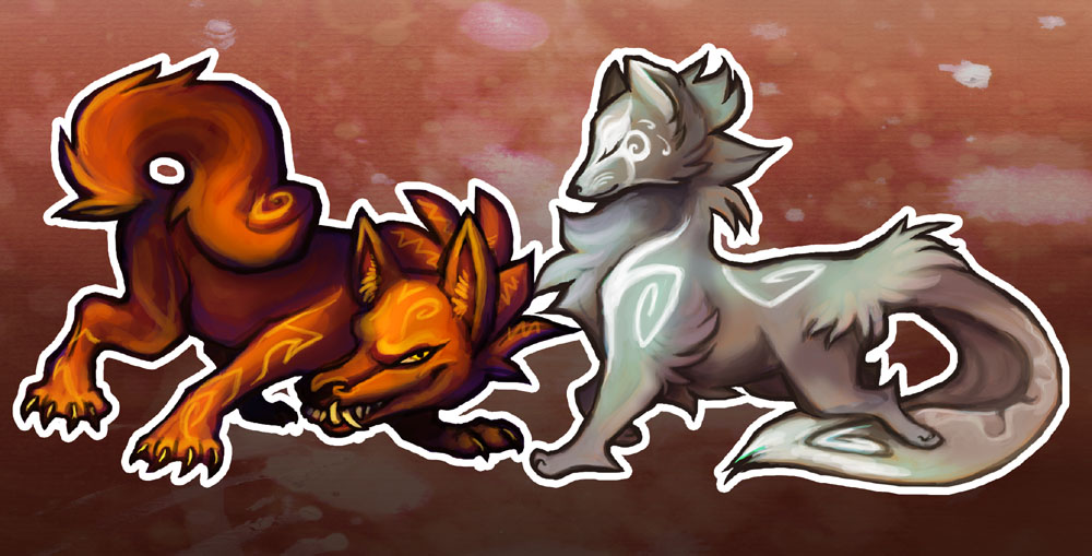 Sun and Moon dogs by skulldog