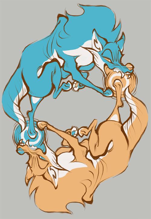 Hati + Skoll Shirt Final by skulldog