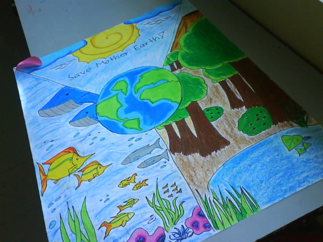 save mother earth drawing make a poster