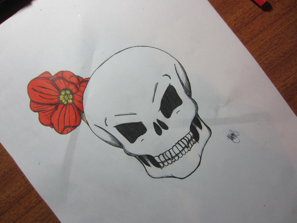 Skull And Flower Drawing Youtube Video By Nigeliscybear On Deviantart