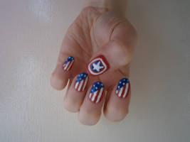 Captain America Nail Art by BlueBlasta