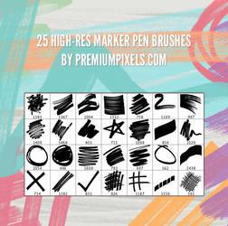 25 High-Res Marker Pen Brushes
