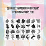 28 HighRes Watercolour Brushes