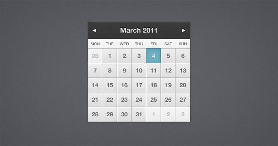Calendar Web Element UI PSD Design