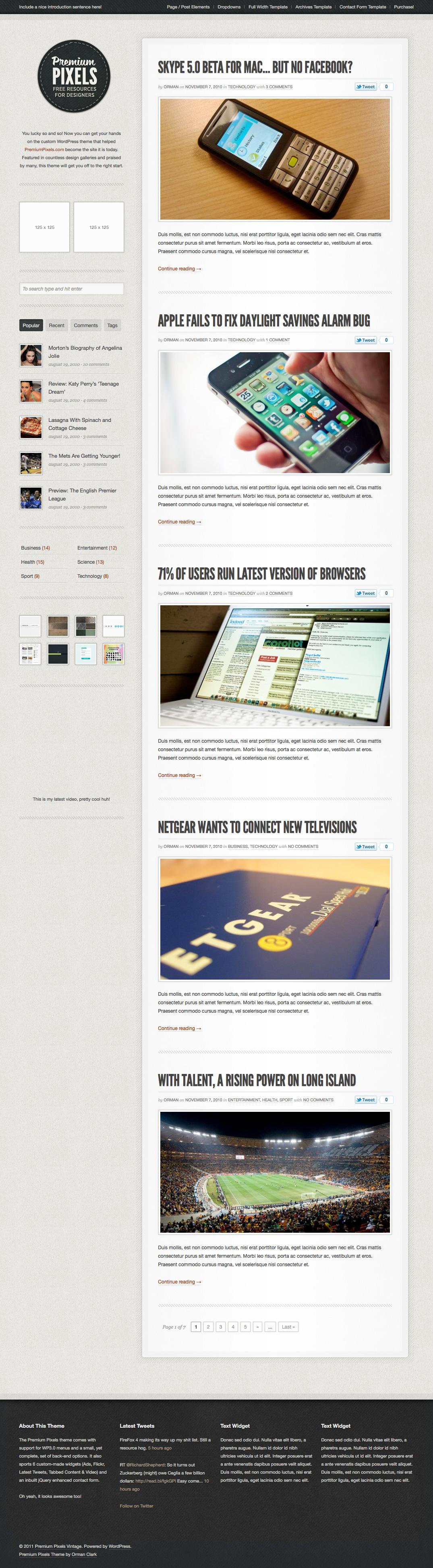Premium Pixels WordPress Theme by ormanclark