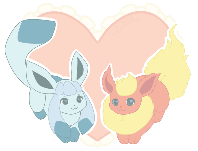 Glaceon + Flareon = Love by Zibelle