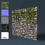 Old stone wall with top edge and ivy