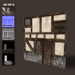 Medieval wall with door and windows