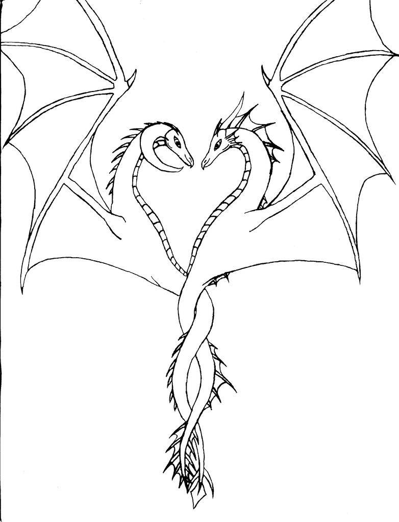 D Line Drawings Quest : Dragon line art by mycatstalksme on deviantart