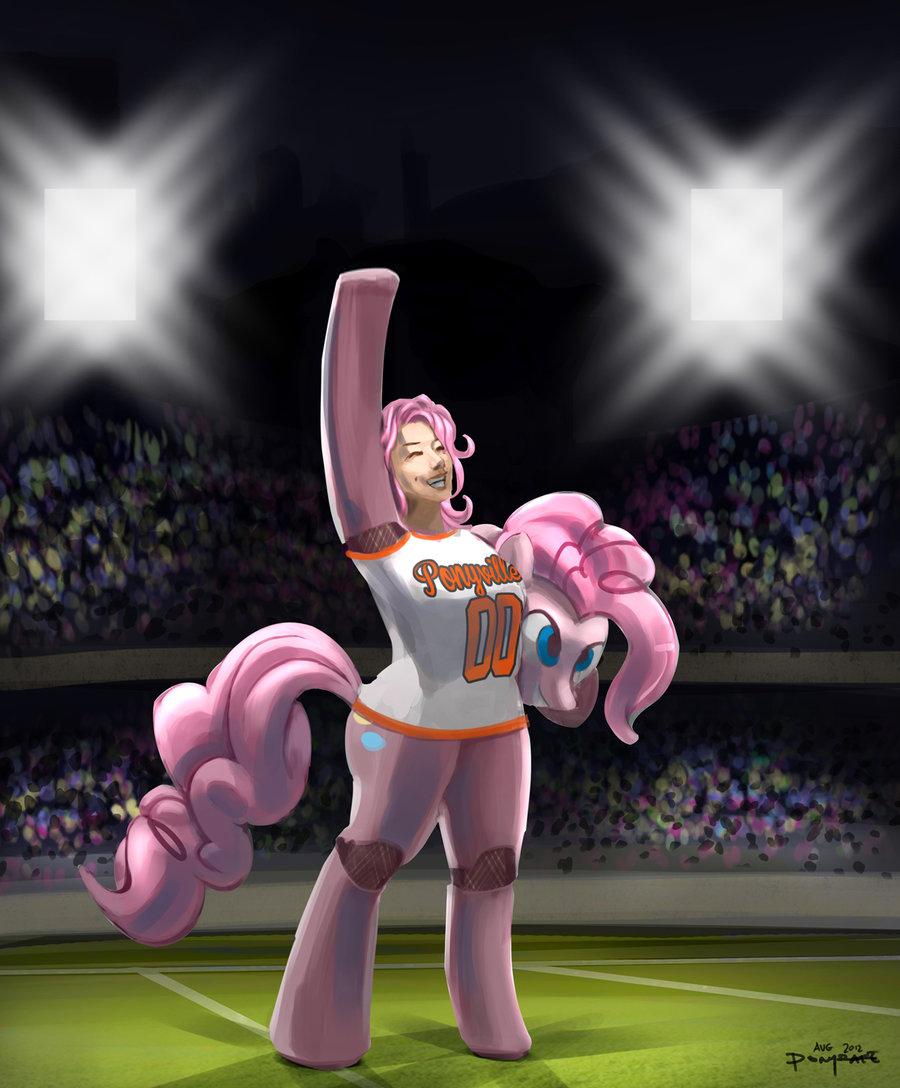 Human High School Ponies: Mascot Pinkie Pie by ponyrake