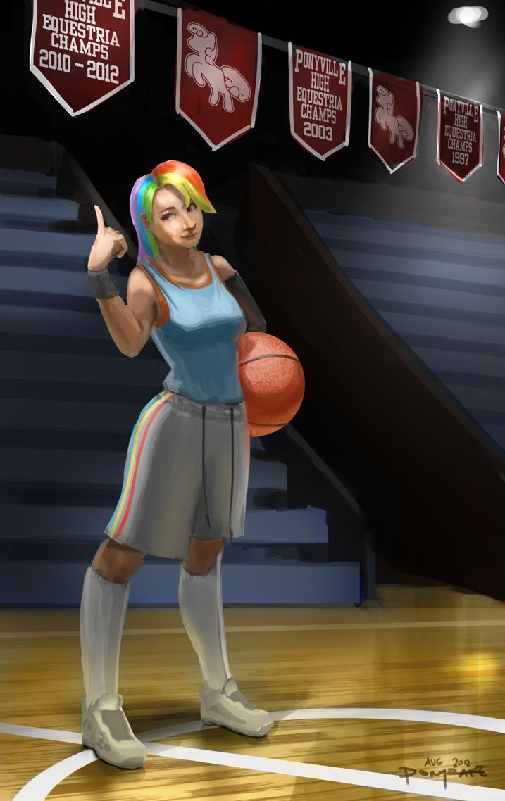 Human High School Ponies: Basketball Rainbow Dash by ponyrake