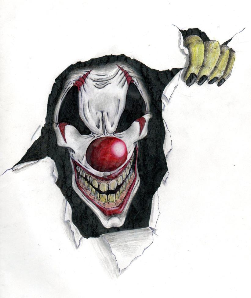 Как рисуют злых клоунов