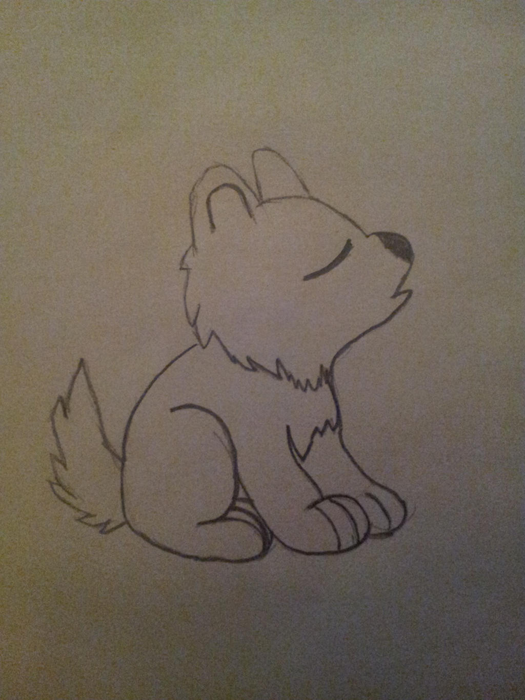 Baby Wolf Howling Drawing