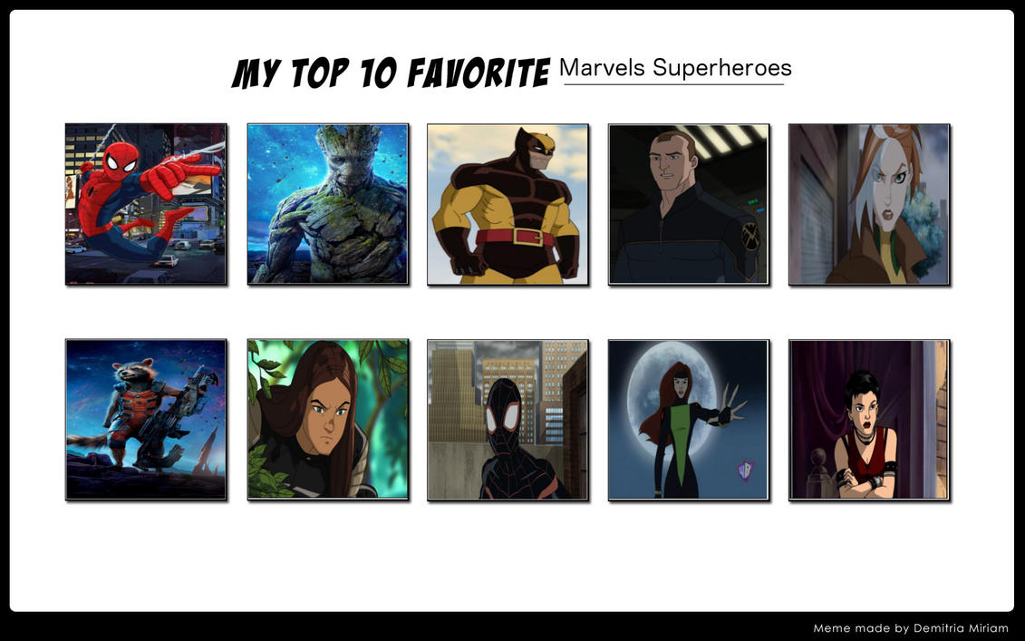 my favourite superheroes Disagree place your vote on the list of top 10 best superheroes top 10 best superheroes  he's not my favourite super-hero, but is still likeable and relatable.