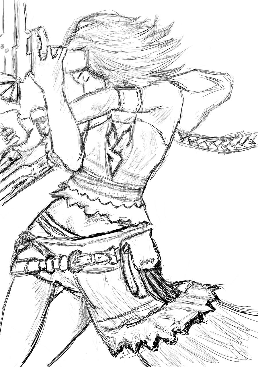 Yuna X-2 uncoloured by McFly-Lover-Forever on DeviantArt