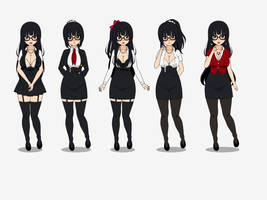 Teacher Himeko with alternative Outfits by MasterDragoniker