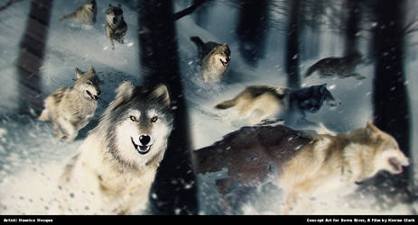 Down River: Wolves on the Hunt by Enthing