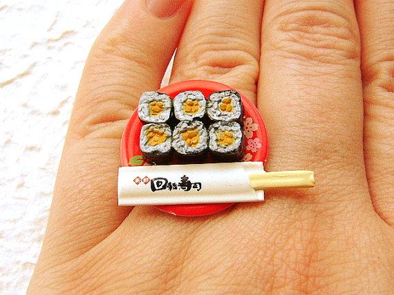 Natto Sushi Chopsticks Ring by souzoucreations