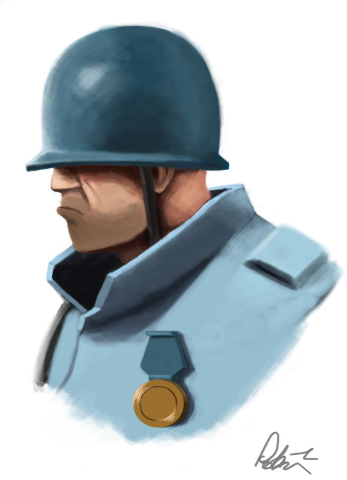 TF2 BLU soldier portra...