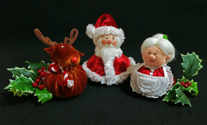 Santa, Mrs. Claus and Rudolph