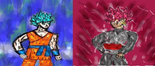 Goku vs Goku Black by Cupercrusader
