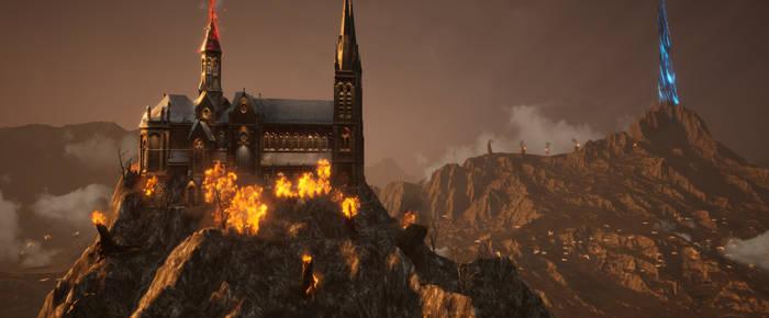 Rocky Meadows Mountain on fire