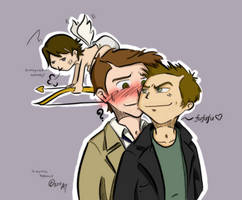 Castiel, Dean, and CupidSam by kamidoodles