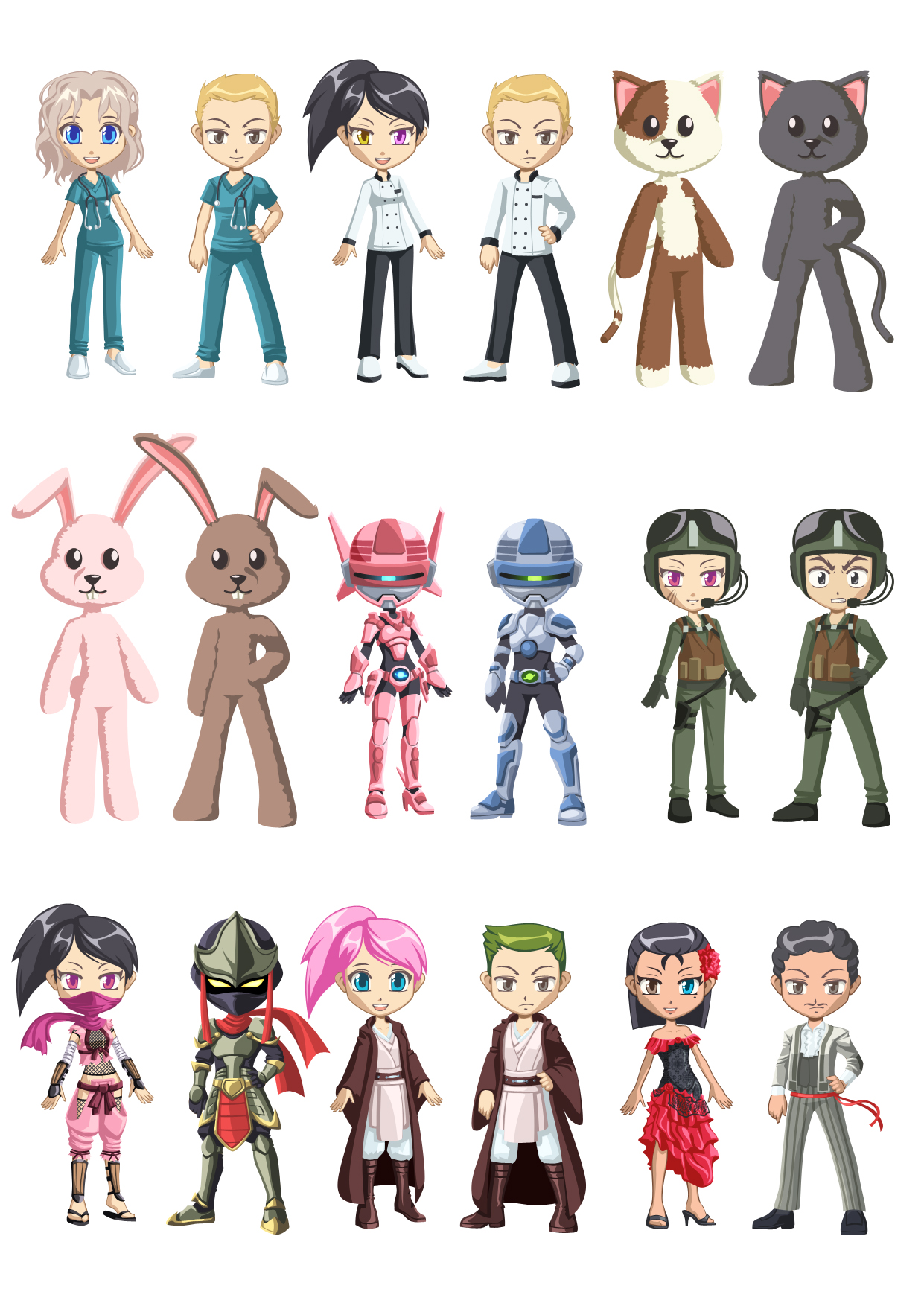 Avatar and costume design collection 01 by LightBlackStudios