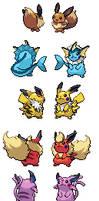 Pikachu and eeveelutions fused