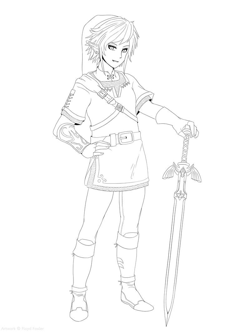 Link The Legend Of Zelda Free Colouring Page By Floydfoxler