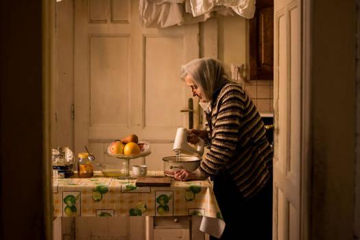 Mima in her kitchen