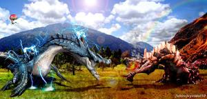 Monster Hunter - Lagiacrus vs Agnaktor