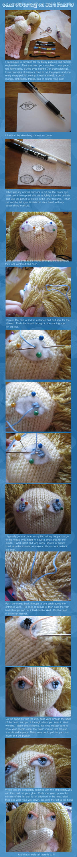 Tutorial -- Embroidering on Knit Fabric (eyes) by ashesonfire