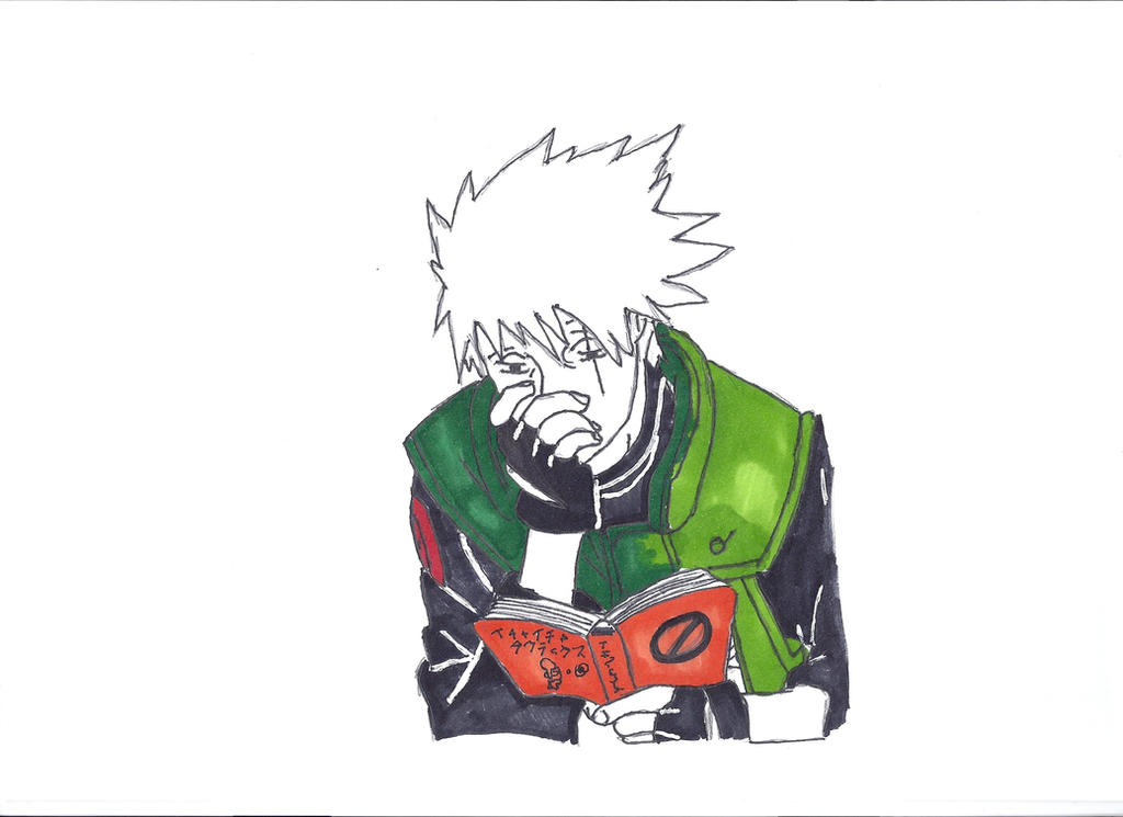 Kakashi reading 'Jiraya book' by CadoAngelus7