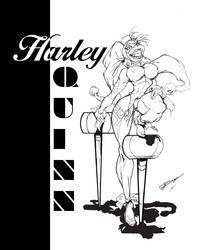 Harley Quinn BW by JustArt27
