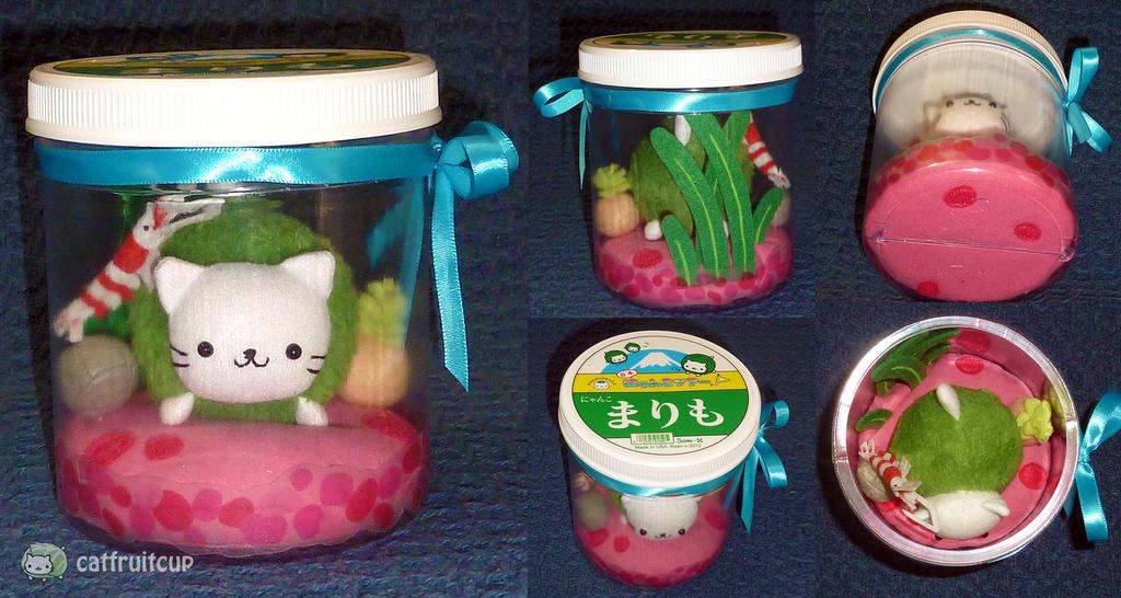 San-X Fanart - Nyanko Marimo Ball ver1 (rocks) by catfruitcup