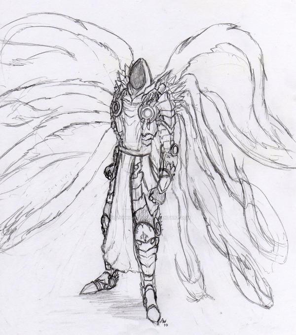 Tyrael Fan Art 2010 - Line Art by Holyknight3000