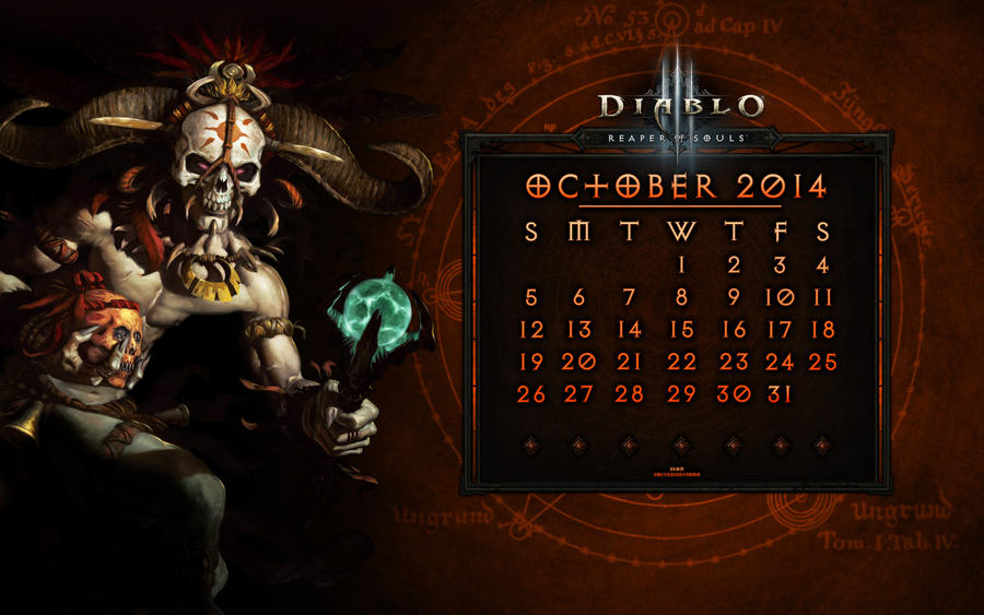 Calendar #5: October 2014 by Holyknight3000