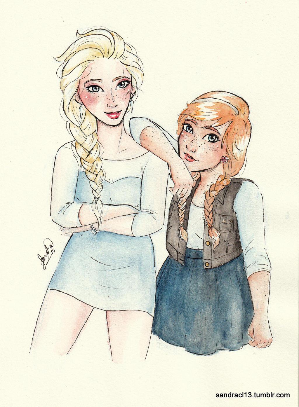 Modern Elsa and Anna by Sandra-13