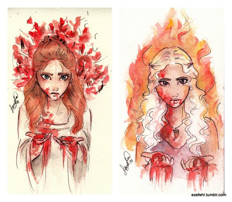 Sansa and Daenerys - bloody by Sandra-13