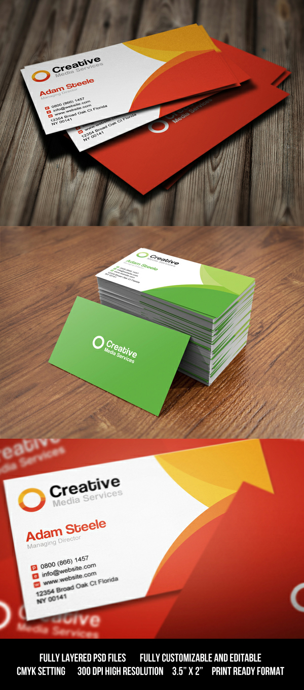 free psd: creative media business cards in 2 colorthearslan on