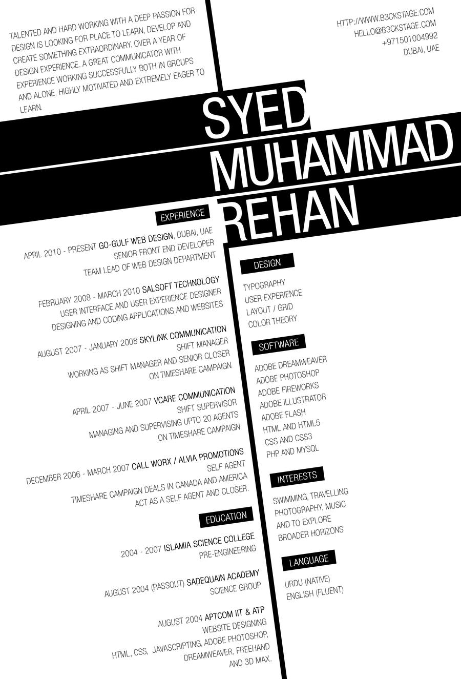 Creative Resume by B3cKStAgE