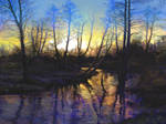river sunset by pawelshogun