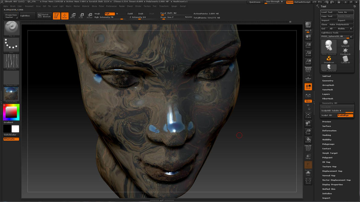 Playing 3d Skullpting in Z-Brush by dividedmind